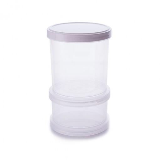 Conjunto Organizador de Plástico Empilhável com Tampa Rosca 2 Unidades