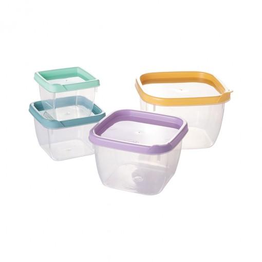 Conjunto de Potes de Plástico Quadrados Conect 4 unidades