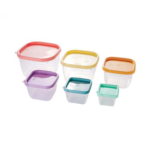 Conjunto de Potes de Plástico Quadrados Conect 6 unidades