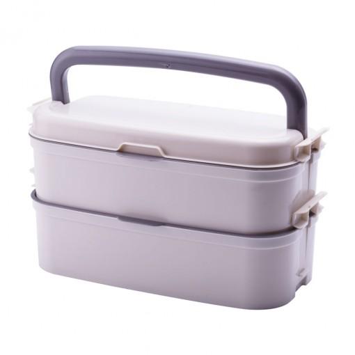 Marmita Fit de Plástico com 4 Compartimentos, Alça e Divisórias Removíveis Fitness