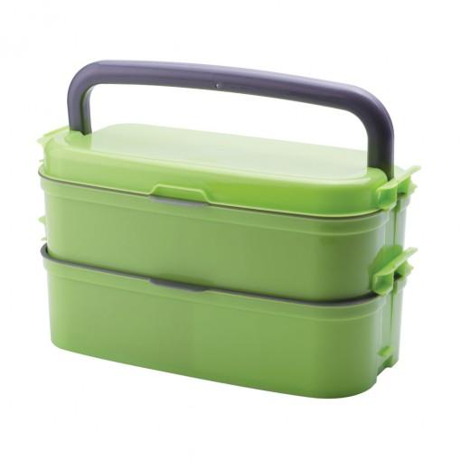 Marmita Fit de Plástico com 3 Compartimentos, Alça e Divisórias Removíveis Fitness