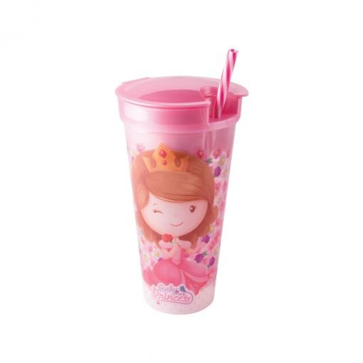 Copo de Plástico 540 ml com Compartimento e Canudo Baby Princess