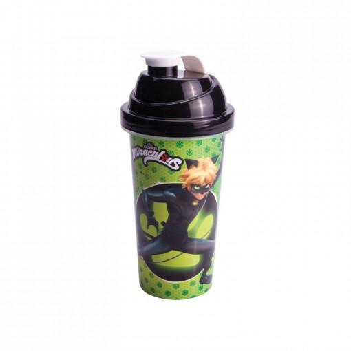 Shakeira de Plástico 580 ml com Tampa Rosca e Misturador Miraculous