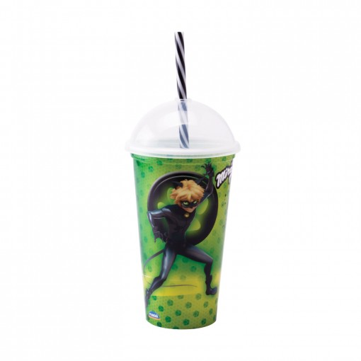 Copo Shake de Plástico 500 ml com Tampa e Canudo Miraculous