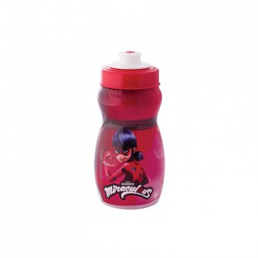 Garrafa Squeeze de Plástico 300 ml com Tampa Rosca Miraculous Ladybug