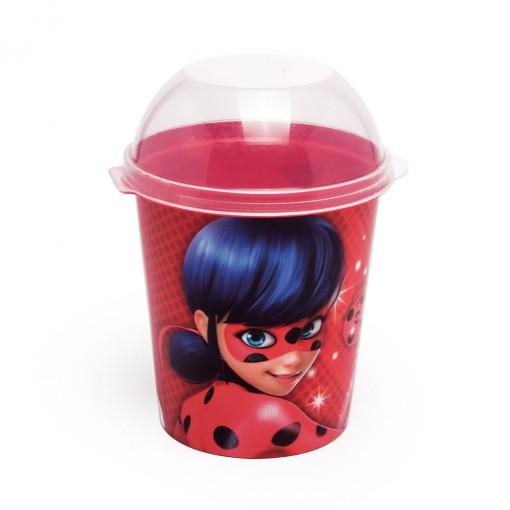 Pote de Plástico 600 ml com Tampa Fixa Miraculous Ladybug