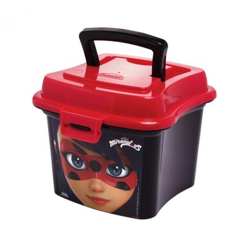 Caixa de Plástico 1 L com Tampa Fixa, Trava e Alça Miraculous Ladybug