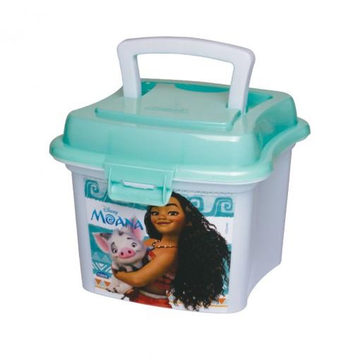 Caixa de Plástico 1 L com Tampa Fixa, Trava e Alça Moana