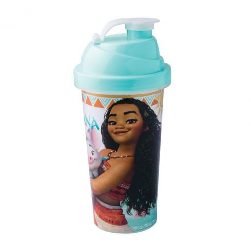 Shakeira de Plástico 580 ml com Tampa Rosca e Misturador Moana