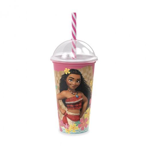 Copo Shake de Plástico 500 ml com Tampa e Canudo Moana