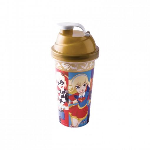 Shakeira de Plástico 580 ml com Tampa Rosca e Misturador Super Hero Girls