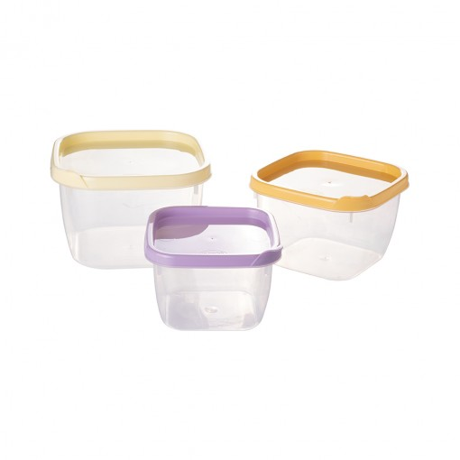 Conjunto de Potes de Plástico Quadrados Conect 3 unidades