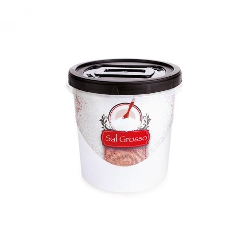 Pote de Plástico Redondo para Sal Grosso 1,8 L Mantimentos Rosca