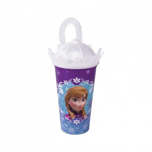 Copo de Plástico 500 ml com Tampa Coroa e Canudo Frozen