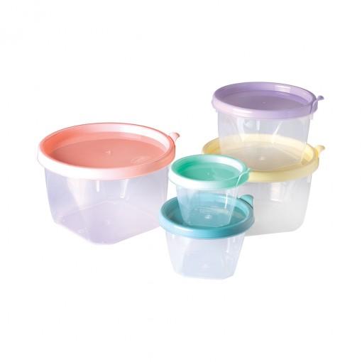 Conjunto de Potes de Plástico Redondos Conect 5 unidades