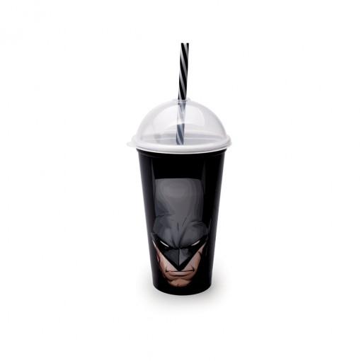 Copo Shake de Plástico 500 ml com Tampa e Canudo Batman