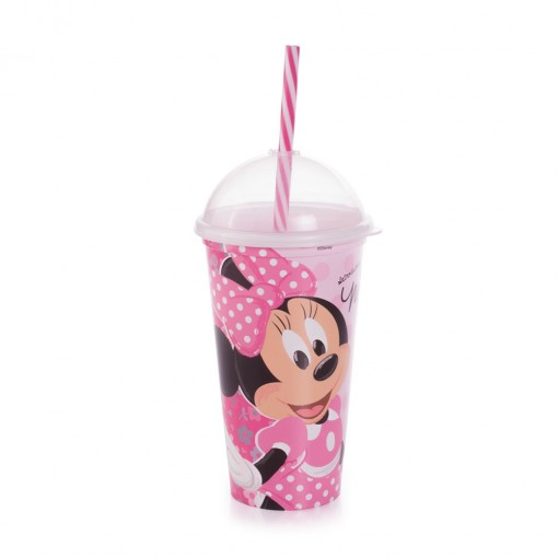 Copo Shake de Plástico 500 ml com Tampa e Canudo Minnie
