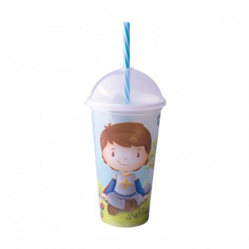 Copo Shake de Plástico 500 ml com Tampa e Canudo Oliver