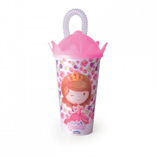 Copo de Plástico 500 ml com Tampa Coroa e Canudo Baby Princess