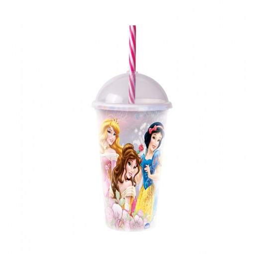 Copo Shake de Plástico 500 ml com Tampa e Canudo Princesas