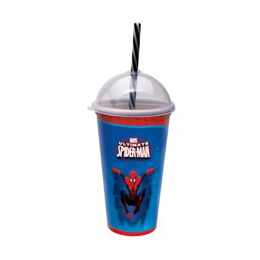 Copo Shake de Plástico 500 ml com Tampa e Canudo Homem Aranha