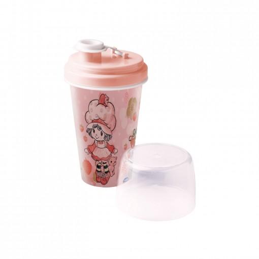 Mini Shakeira de Plástico 320 ml com Misturador, Fechamento Rosca e Sobretampa Articulável Moranguinho Vintage