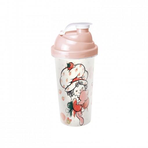 Shakeira de Plástico 580 ml com Tampa Rosca e Misturador Moranguinho Vintage
