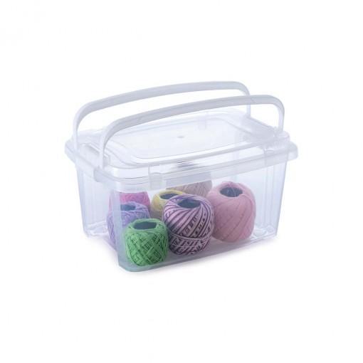 Caixa de Plástico Retangular Organizadora 2,6 L com Tampa, Travas Laterais e Alça Gran Box