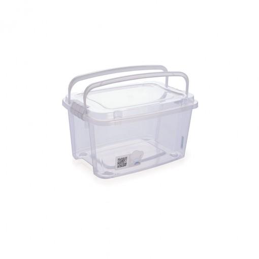 Caixa de Plástico Retangular Organizadora 690 ml com Tampa, Travas Laterais e Alça Gran Box