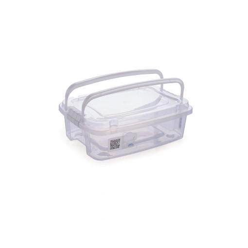 Caixa de Plástico Retangular Organizadora 850 ml com Tampa, Travas Laterais e Alça Gran Box
