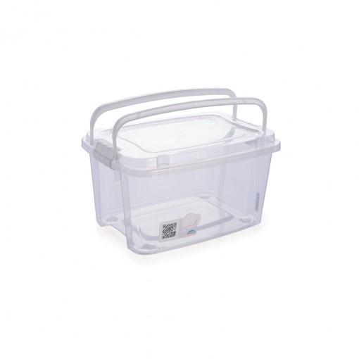Caixa de Plástico Retangular Organizadora 1,5 L com Tampa, Travas Laterais e Alça Gran Box