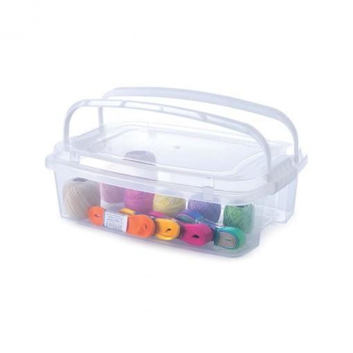 Caixa de Plástico Retangular Organizadora 3,12 L com Tampa, Travas Laterais e Alça Gran Box