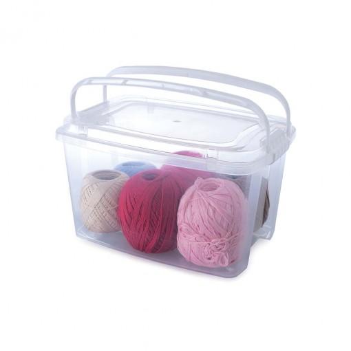 Caixa de Plástico Retangular Organizadora 6,2 L com Tampa, Travas Laterais e Alça Gran Box