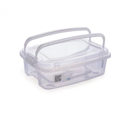 Caixa de Plástico Retangular Organizadora 5,48 L com Tampa, Travas Laterais e Alça Gran Box