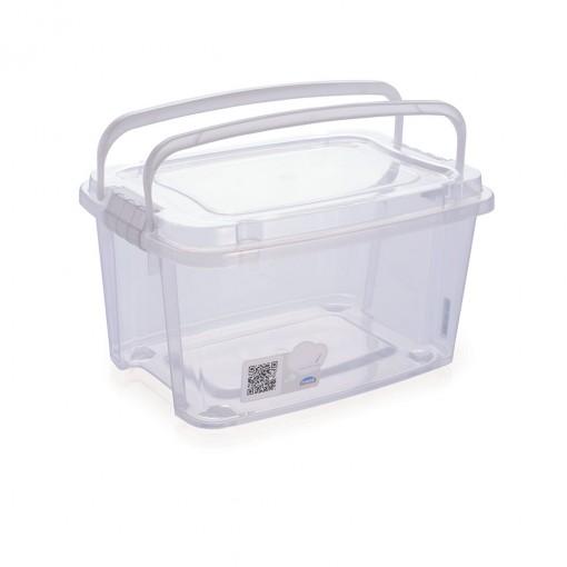 Caixa de Plástico Retangular Organizadora 10,7 L com Tampa, Travas Laterais e Alça Gran Box