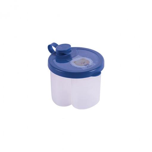 Dosador de Leite em Pó de Plástico com 3 Compartimentos Tampa Encaixável e Bico Direcionador Urso