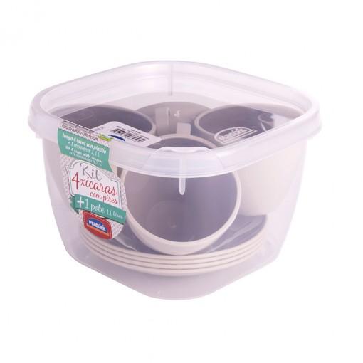 Conjunto de Xícaras de Plástico de Café 100 ml com Pires e Pote Duo 360° 4 uniddaes