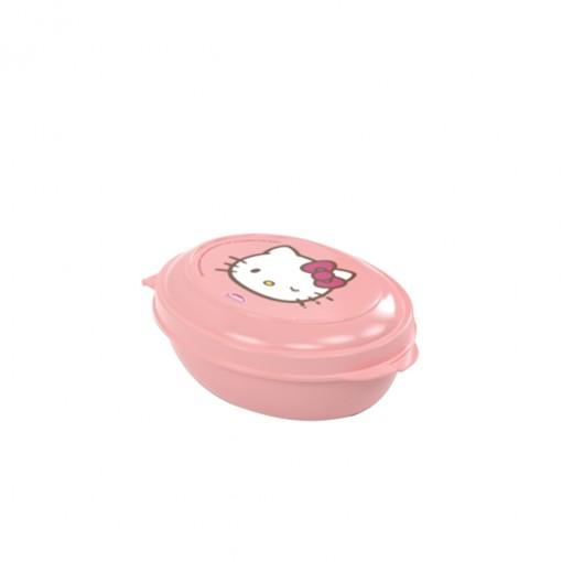Saboneteira de Plástico com Tampa Fixa Hello Kitty