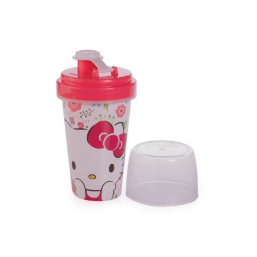 Mini Shakeira de Plástico 320 ml com Misturador, Fechamento Rosca e Sobretampa Articulável Hello Kitty