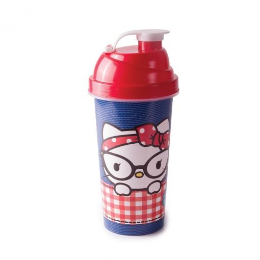 Shakeira de Plástico 580 ml com Tampa Rosca e Misturador Hello Kitty