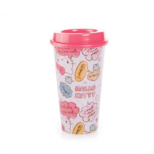Copo de Plástico 500 ml com Tampa Café Hello Kitty