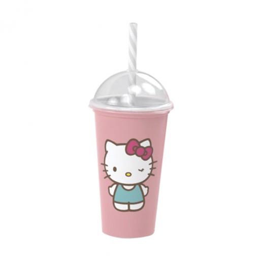 Copo Shake de Plástico 500 ml com Tampa e Canudo Hello Kitty