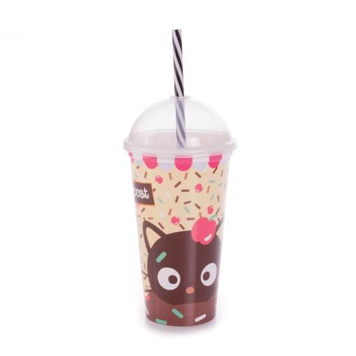 Copo Shake de Plástico 500 ml com Tampa e Canudo Chococat