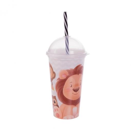 Copo Shake de Plástico 500 ml com Tampa e Canudo Os Filhotes