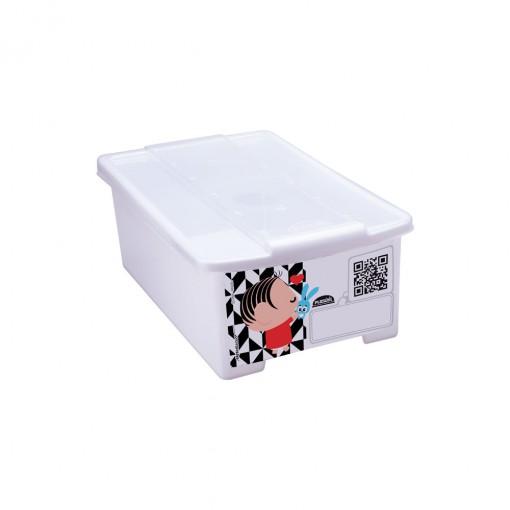 Caixa de Plástico Retangular Organizadora 1,2 L com Tampa Empilhável Mini Turma da Mônica