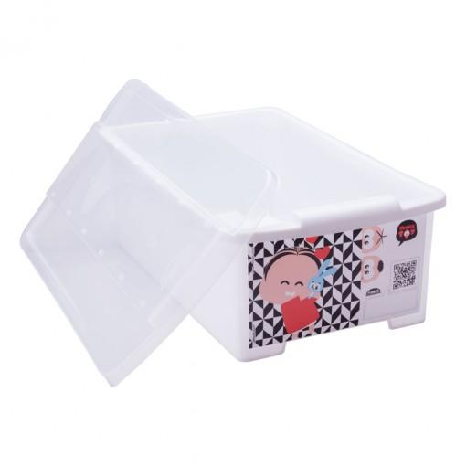 Caixa de Plástico Retangular Organizadora 6 L com Tampa Empilhável Média Turma da Mônica