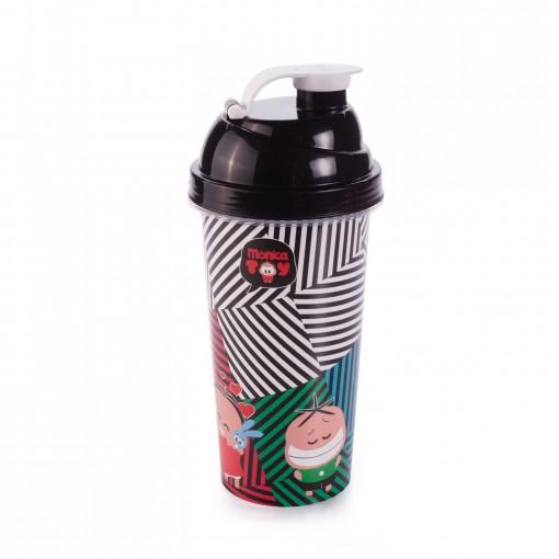 Shakeira de Pástico 580 ml com Tampa Rosca e Misturador Turma da Mônica