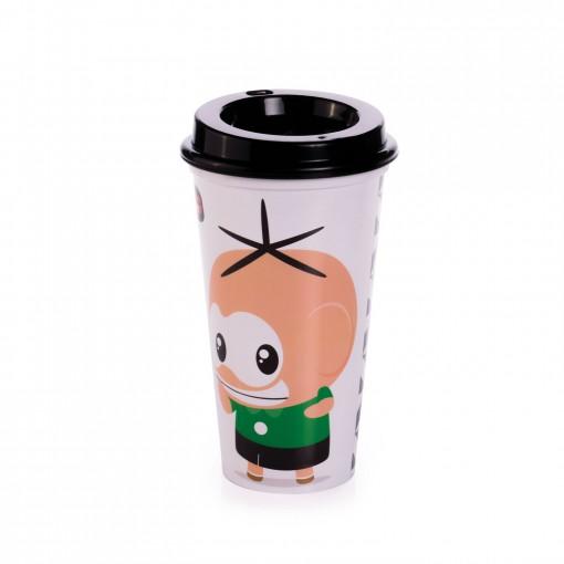 Copo de Plástico 500 ml com Tampa Café Turma da Mônica