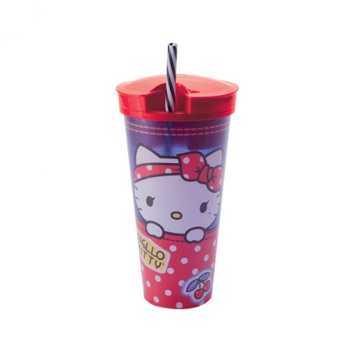 Copo de Plástico 540 ml com Compartimento e Canudo Hello Kitty