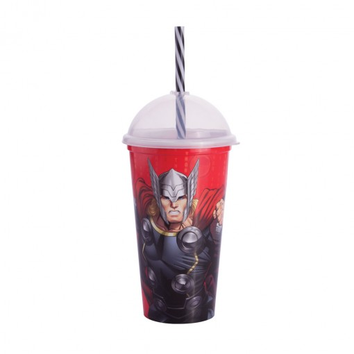 Copo Shake de Plástico 500 ml com Tampa e Canudo Avengers Thor